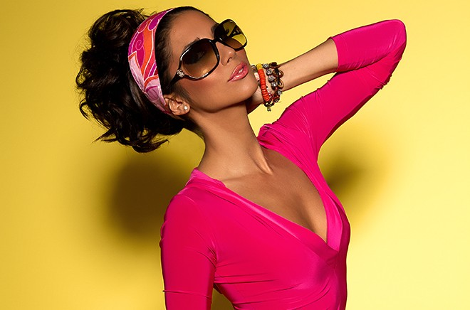Leilani Dowding Deja Jordan VIVA GLAM MAGAZINE pink dress yellow background