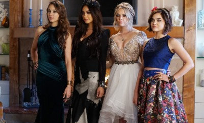 """PRETTY LITTLE LIARS - """"Last Dance"""" - It is prom time at Rosewood High, except for Alison, Aria, Emily, Hanna and Spencer who have been banned due to """"security"""" concerns. As the girls see this as the final humiliating blow to their high school careers the girls' mothers try to make the best of a bad situation by offering a home prom in Spencer's barn. At first reluctant, the PLLs agree and try to make the best out of a bad situation. But one to never miss a formal, Charles has other plans in store to make this a night they will never forget. Meanwhile, Veronica, Pam, Ashley and Ella use prom night to touch base on everything that has happened to their daughters, on an all-new episode of ABC Family's hit original series """"Pretty Little Liars,"""" airing Tuesday, August 4th (8:00 - 9:00 PM ET/PT). (ABC Family/Eric McCandless) TROIAN BELLISARIO, SHAY MITCHELL, ASHLEY BENSON, LUCY HALE"""