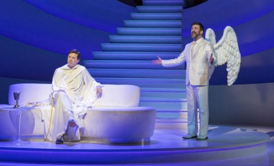 "L-R: Sean Hayes and David Josefsberg in ""An Act of God,"" written by God, transcribed by David Javerbaum and directed by Joe Mantello. ""An Act of God"" is now playing at the Center Theatre Group/Ahmanson Theatre through March 13, 2016. Tickets are available at CenterTheatreGroup.org or by calling (213) 972-4400.