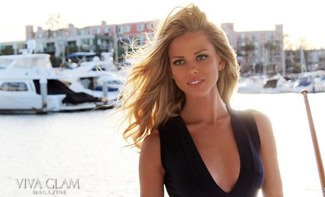 beautiful woman on a boat marina