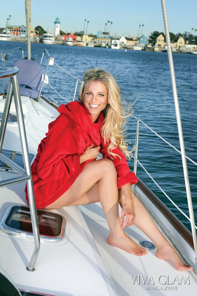 VIVA GLAM MAGAZINE Sexiest Issue, Scarlett Burke Victoria's Secret red robe yacht