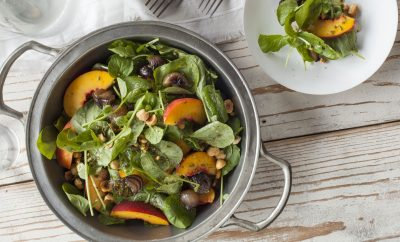 Peach Salad with Mint Vinaigrette Tal Ronen crossroads recipe