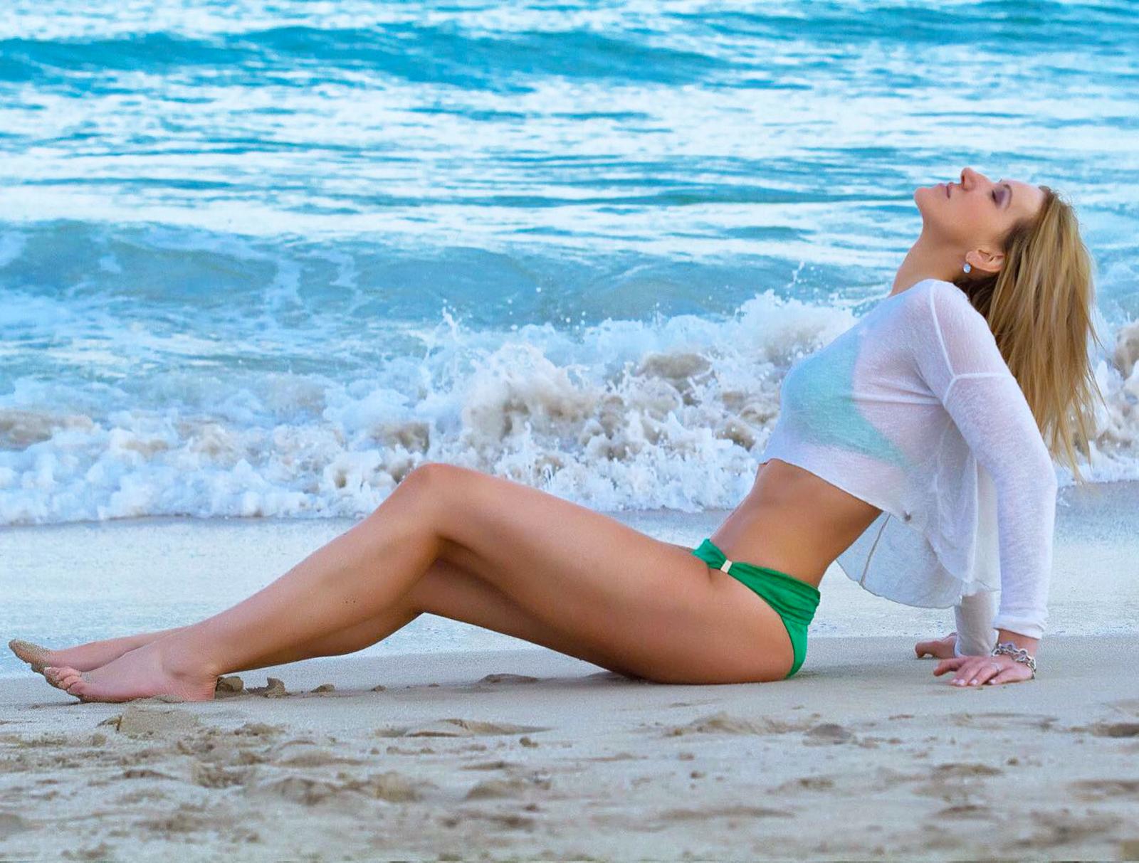 Bozena Zag model interview beach green bikini