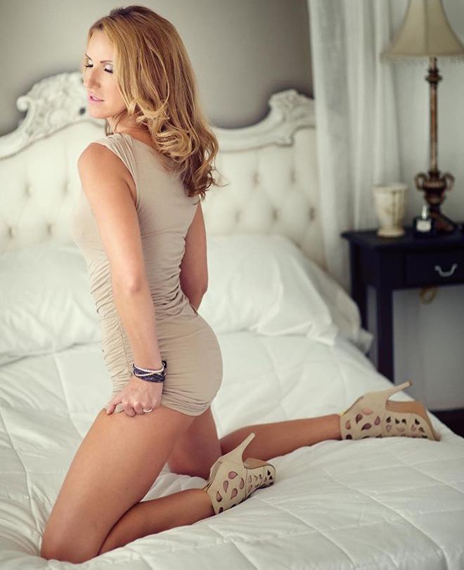 Bozena Zag model interview beige dress white bed