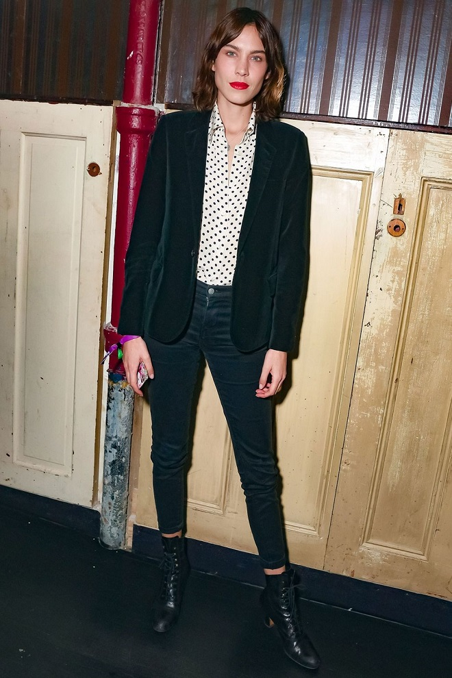 22 Examples of Alexa Chung Style We Love black blazer pants white shirt