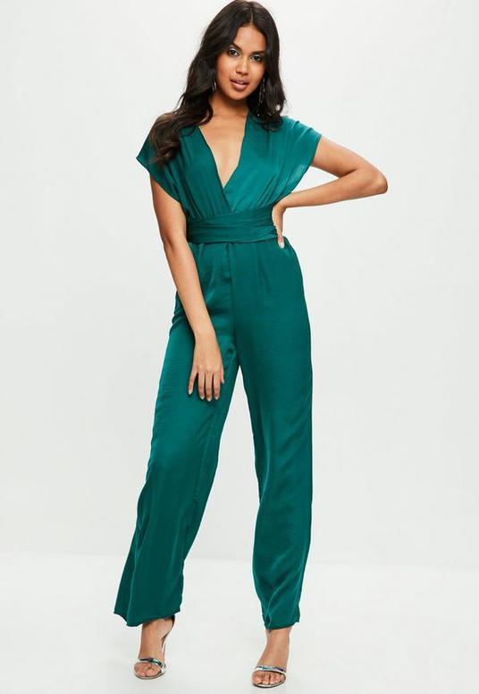 Green Satin Multi Way Wide Leg Jumpsuit