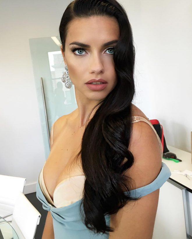 21 Stunning Beauty Photos We Loved on Adriana Lima's Instagram nude lips side-parted hairstyle