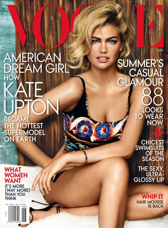 Top 10 Kate Upton Magazine Covers patterned swimsuit