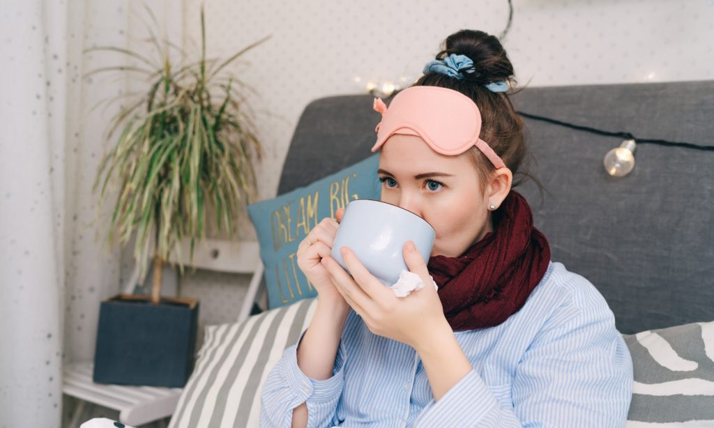 drinking tea, cold, flu, sick