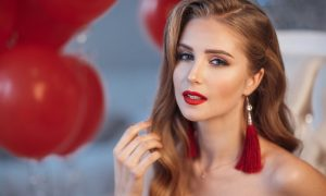 long hair, redhead, valentine's day, romantic hairstyle