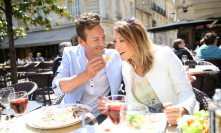 france, french, cafe, couple, date