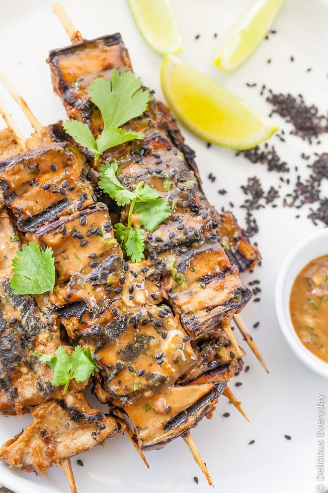15 Vegan BBQ Recipes that Even Meat Eaters Will Like grilled eggplant tahini satay kebabs