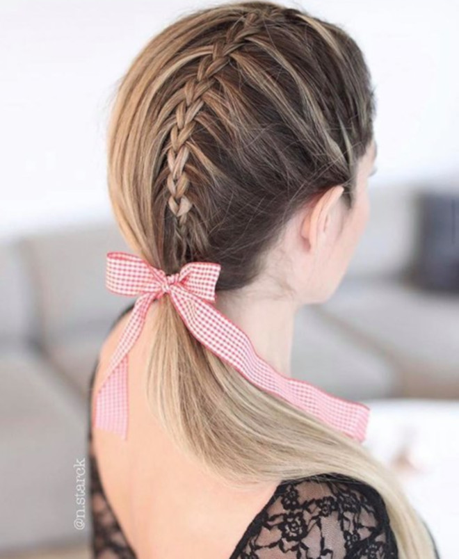 feminine braided ponytails 9