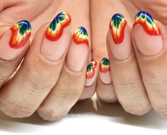 rainbow tie-dye french manicure 9
