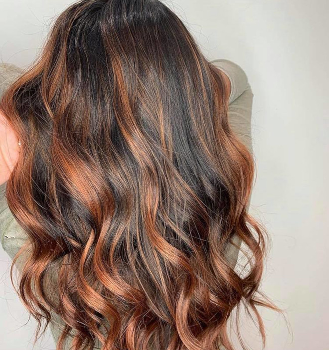 cinnamon balayage hair color trend 1