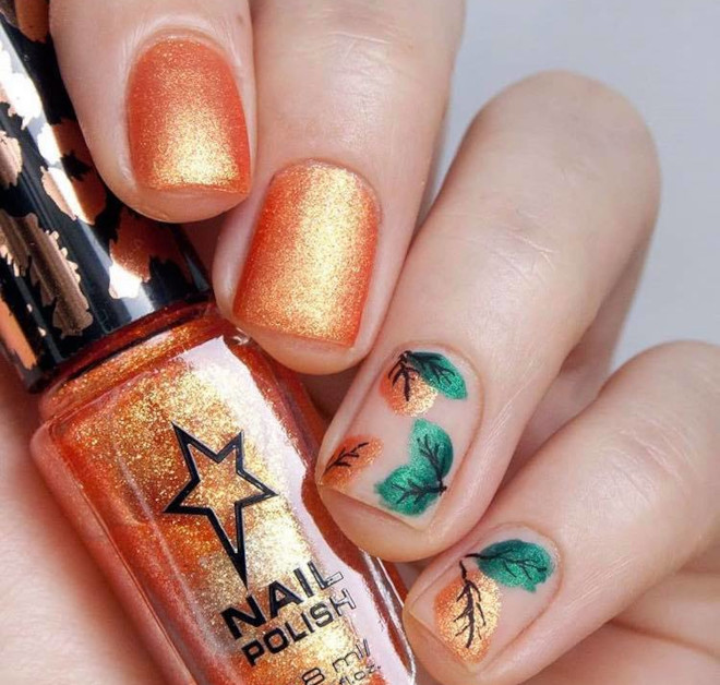 orange nails are perfect for fall 3