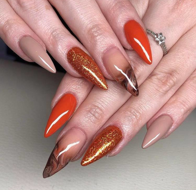 orange nails are perfect for fall 6