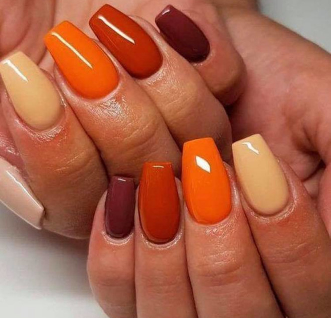 orange nails are perfect for fall 7