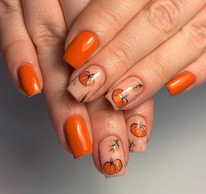 orange nails are perfect for fall 8