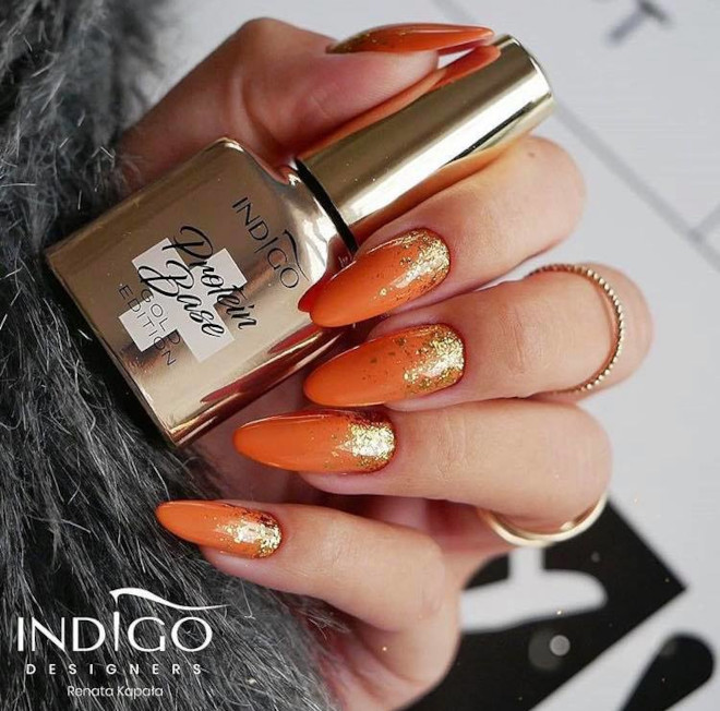 orange nails are perfect for fall 9