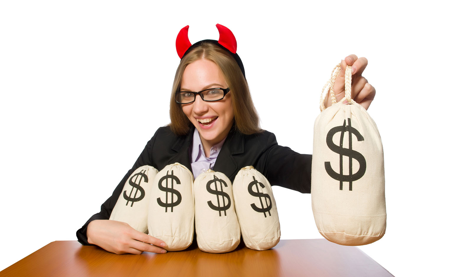 Female employee with money sacks on her table