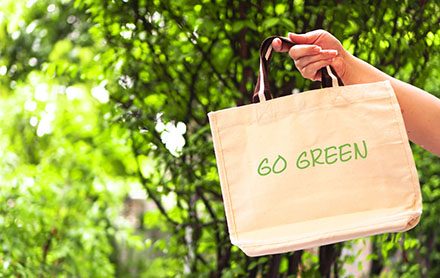 A woman hand holds eco natural reusable tote bag with go green a