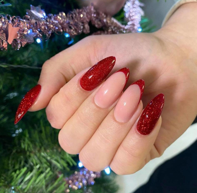 festive french manicure ideas to level up your winter look