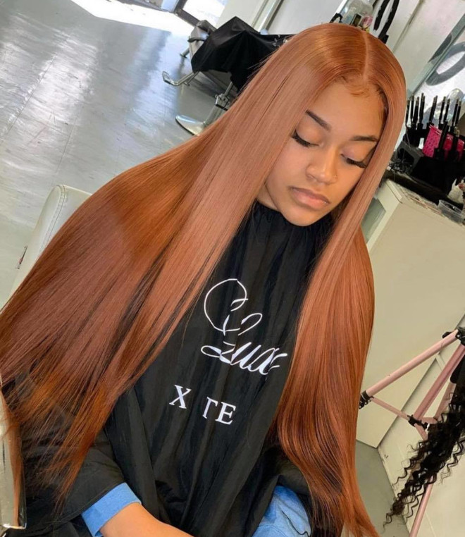 cinnamon gold hair is the latest low-maintenance hair color trend for spring