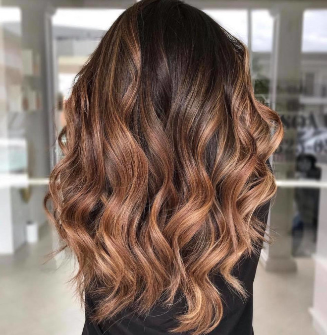 roasted caramel hair is the prettiest spring hair trend for brunettes to try 6