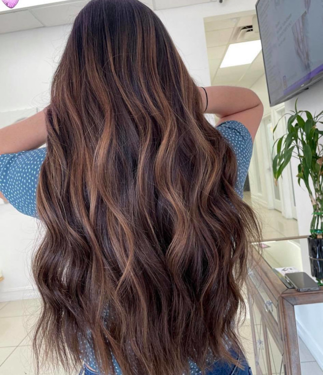 roasted caramel hair is the prettiest spring hair trend for brunettes to try 8