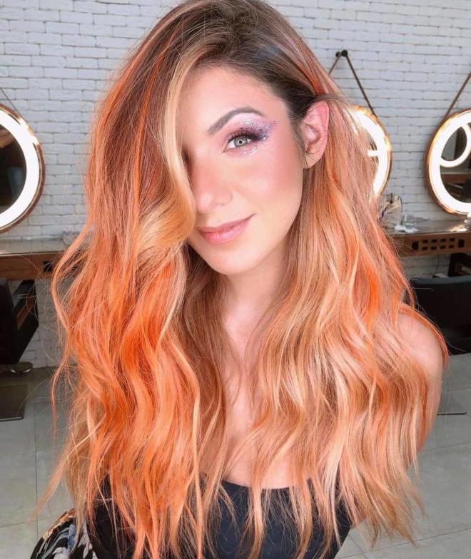 rose aperol spritz hair is the prettiest summer hair trend