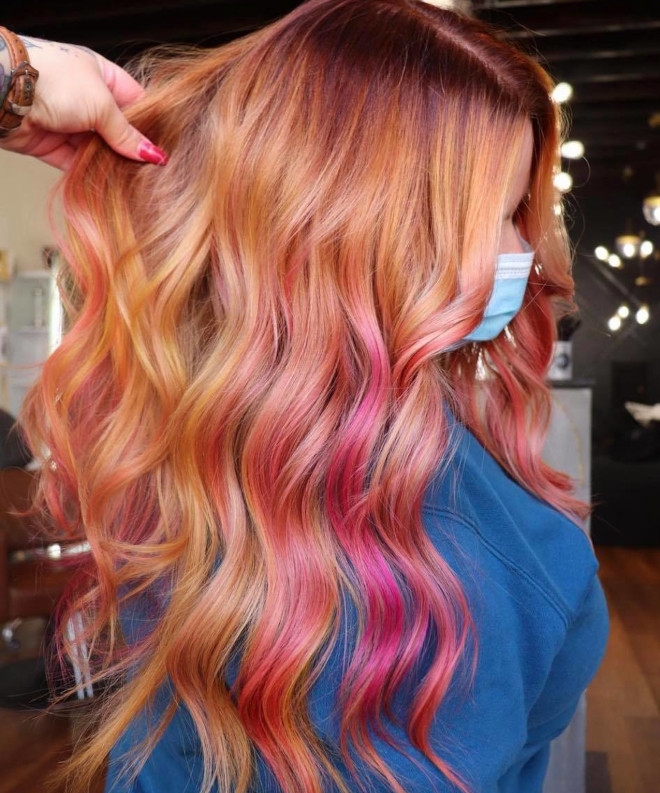 rose aperol spritz hair is the prettiest summer hair trend 6